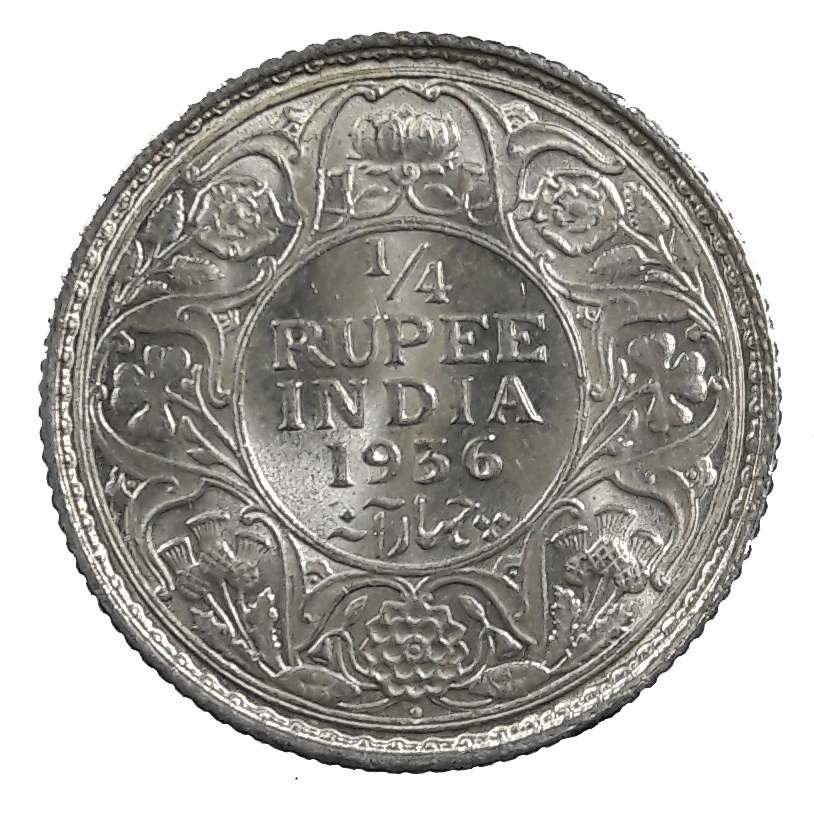 Quarter Rupee Silver Coin British India King George V