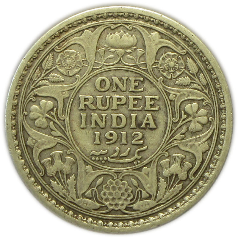 One Rupee 1912 Silver Coin King George V Calcutta Mint