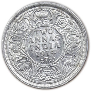 two annas coin 1914 British India